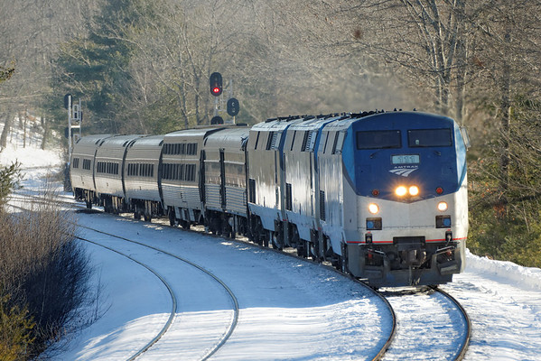Amtrak 449 in the snow at MP60, Spencer, MA on the CSX Boston Line. 1/7/2013 - 598C5488dK