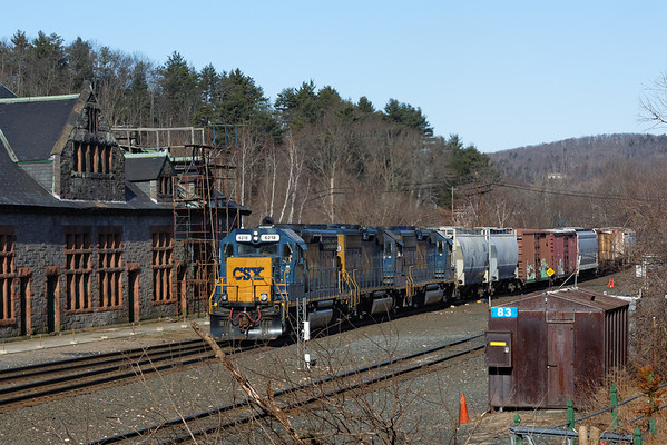 With three units and a long drag of salt cars, the Springfield, MA local comes past the historic Palmer Depot and into the CSX yard at MP83 on the Boston Line. 3/29/2013 - 598C7725dK