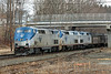 Amtrak 449, with three units - 107, 118 and 142, at MP64, East Brookfield, MA. 4/1/2013 - 598C8237dK