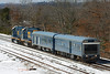 After making a short stop at MP64, East Brookfield, MA, CSX inspection train W001 continues west. 3/22/2013 - 598C7516dK