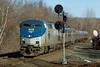 Amtrak 449 coming off the Charlton Hill and through the signals at MP57, Charlton, MA. 1/31/2013 - 598C5795dK