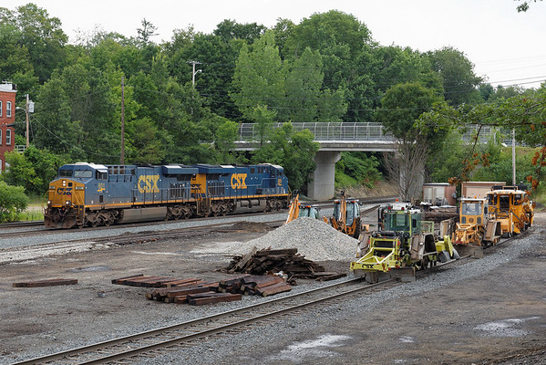 Light power from Q264 rolls past the track equipment in the yard at MP64, East Brookfield, MA. 7/21/2013 - 598C3009dK