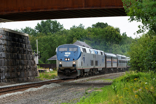 Amtrak 449 rolls past the old depot and under the newly constructed (and significantly raised) bridge in West Brookfield, MA. 7/28/2013 - 598C3662dK