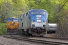 With train S427 in the hole on the siding, Amtrak 449 heads west on the main at MP60, Spencer, MA on the CSX Boston Line. 5/15/2013 - 598C0155dK