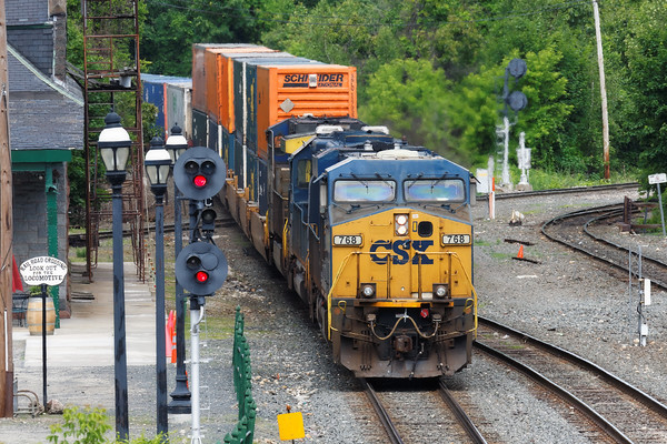 CSX train Q022 pounds across the diamond at MP83 in Palmer, MA. 6/5/2015 - 598C9076dK