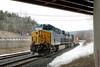 Running at track speed, Q427 rolls under the Rte 20 bridge at MP81 in Palmer, MA. 3/20/2015 - 598C2536dK