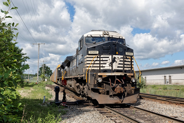 In Ayer, train 28N holds the siding near the auto facility at the Willows. 6/6/2016 - 598C8825dK