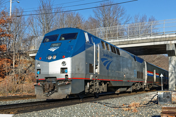 On the way home, back on the B&A, I happened upon Amtrak 449 blasting through MP 64 in East Brookfield, MA. 11/18/2016 - 598C7952d2K