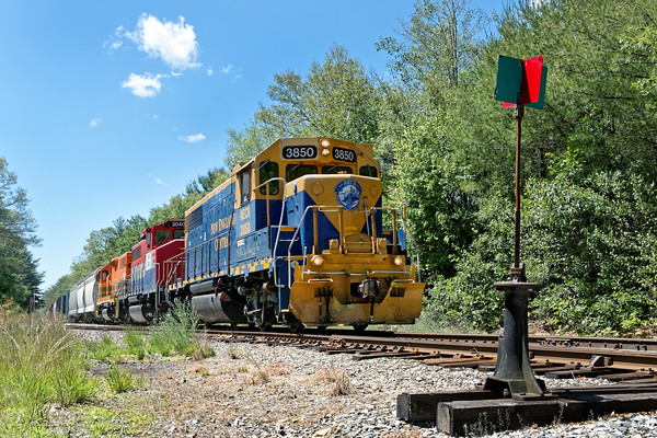 NECR train 608 north at State Line crossing, just south of Monson, MA.<br /> 6/30/2016 - 598C9831dK