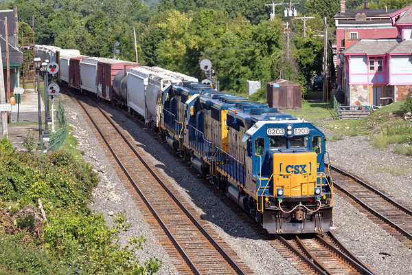 Sporting three units in new paint pulling a long train, B740, the Springfield Local, eases into the yard at MP83 in Palmer, MA. 8/15/2016 - 598C3450dK