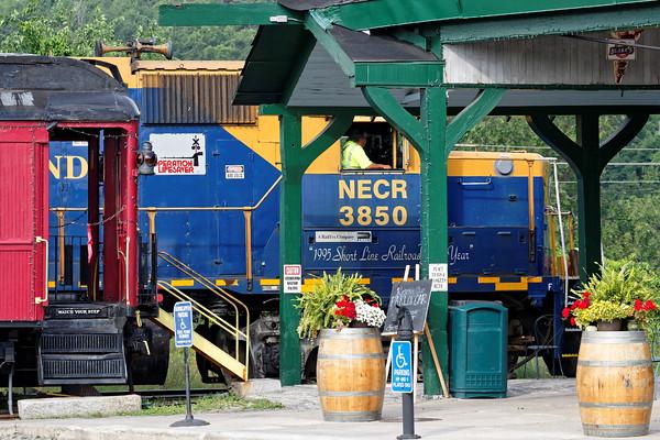 NECR 3850 works the yard near the historic Palmer MA depot.7/7/2016 - 598C0145dK