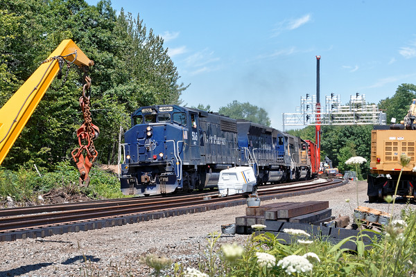 The line has to stay open...<br /> Train POED comes up the hill through all the construction at Wachusetts in Fitchburg, MA.<br /> 8/3/2016 - 598C2757dK