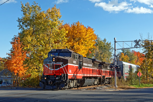 Against a backdrop of rich New England Fall color, Providence & Worcester train WOGR slowly makes it's way towards the Pan Am yard in Gardner, MA. <br /> 10/19/2016 - 598C6953dK