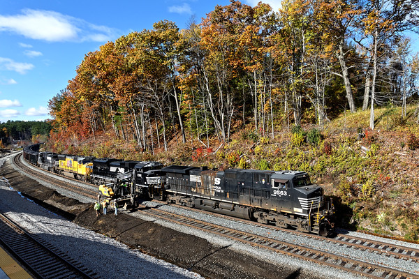 "The platform at the new ""T"" station at Wachusett offers spectacular views of trains going in both directions and it's an easy speed limit drive from Gardner. 10/31/2016 - 598C7221dK"