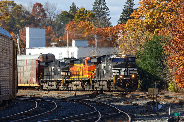 Later on in the afternoon, train 28N came in to Gardner with auto racks and freight for the P&W. Power was NS7654, BNSF4694 and NS9089. 10/31/2016 - 598C7251dK