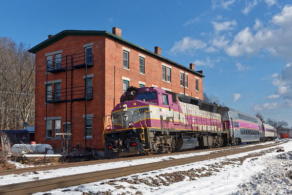 Outbound commuter train through the center of Shirley, MA. 12/14/2016 - 598C9245daK