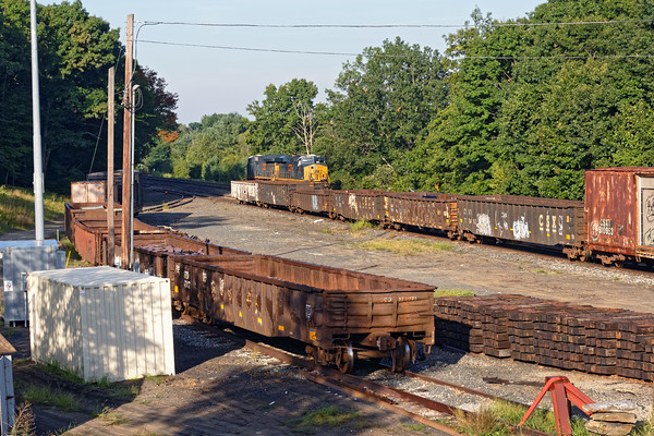 Early in the morning, Q264 light power sits quietly next to a number of MoW gons in the little storage yard at MP64 in East Brookfield MA. 8/25/2016 - 598C3930dK