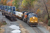 With CSX 3369 in the lead and BNSF 3912 following, elephant style, train Q022 makes a run on the Charlton Hill at MP57 in Charlton, MA. 10/28/2016 - 598C7148dK