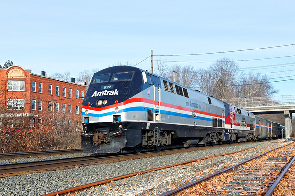 Happy Thanksgiving to All!!<br /> Amtrak 449 was colorful today with AMTK822 (Phase 111) leading, and AMTK42, Salute to our Veterans, following elephant style.<br /> 11/23/2016 - 598C8289d2K