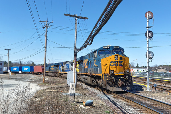 Under brilliant early Spring skies, train SEPO eases out on the east wye of the Hill Yard in the center of Ayer, MA. 4/13/2016 - 598C6573dK