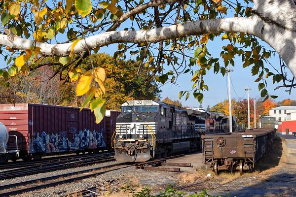 Train 22K in the Gardner, MA yard on a beautiful Fall morning.<br /> 10/19/2016 - 598C6784dK