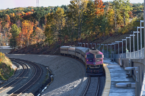 "The view from the new ""T"" station at Wachusett, just west of Fitchburg, MA is fantastic, even in the early morning. Yesterday, Keolis sent a special ""geometry train"" all the way to the layover area, just west of the station, and back to Boston. 10/19/2016 - 598C6814dK"