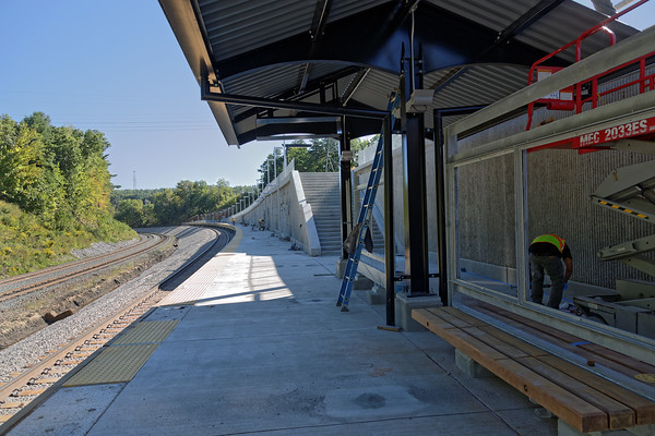 With an opening date looming about a month away, construction continues on the new MBTA station and layover facility at Wachusetts Curve in West Fitchburg, MA. Featuring a 600 foot platform, the station is right next to the PAR double track main line with the 6 track layover facility a few miles to the west. 9/13/2016 - 598C5612dK