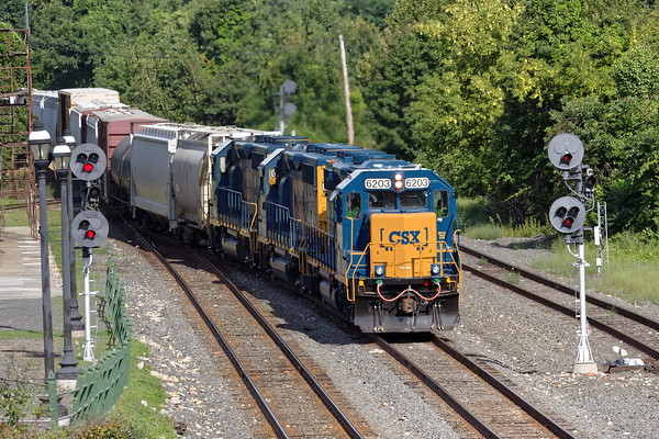 Sporting three units in new paint pulling a long train, B740, the Springfield Local, eases into the yard at MP83 in Palmer, MA. 8/15/2016 - 598C3441dK