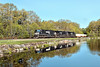 Train 22K running east through the early Spring foliage at Parkers Pond in Gardner, MA. 5/20/2016 - 598C8185dK