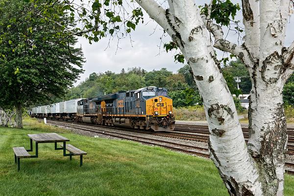 On a cloudy summer morning, train Q022 eases through MP83 in Palmer, MA. 8/4/2017 - 598C2880dK
