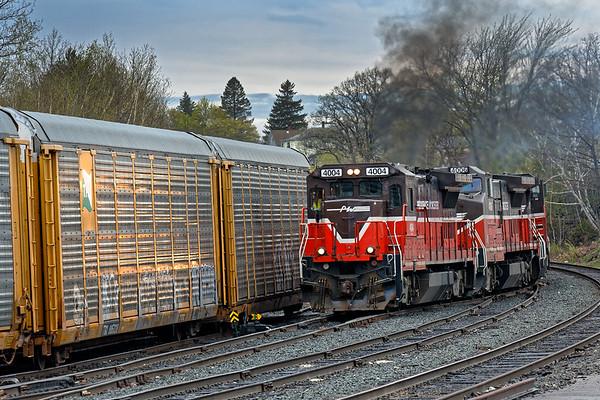Under threatening skies and light rain, P&W train WOGR switches the Gardner MA yard.<br /> 4/30/2017 - 598C1744dK