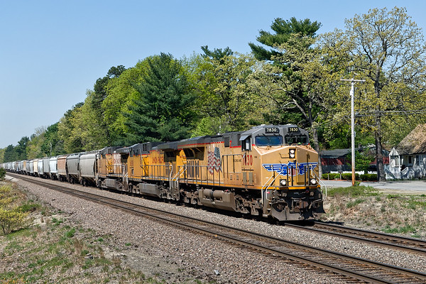 Next up through Shirley was a loaded grain train with three big Union Pacific units pulling. 5/18/2017 - 598C1982dK