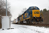 Having picked up cars in Palmer MA for the return to Springfield, CSX train B740, notches up at MP87 in Wilbraham MA. 12/18/2017 - 598C5044dK