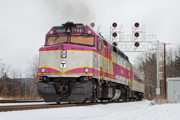 """Inbound """"T"""" commuter train starts it's run to Boston from the new Wachusett station in West Fitchburg MA. 12/14/2017 - 598C4874dK"""
