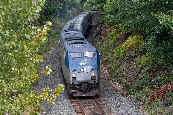 Viewed from the Rte 31 bridge, Amtrak train 449 drifts down the Charlton Hill at MP57 in Charlton MA. 9/13/2017 - 598C3601dK