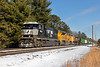 Pulling 80 plus cars, train 23K notches up along the straightaway in Shirley MA. 12/14/2017 - 598C4984dK