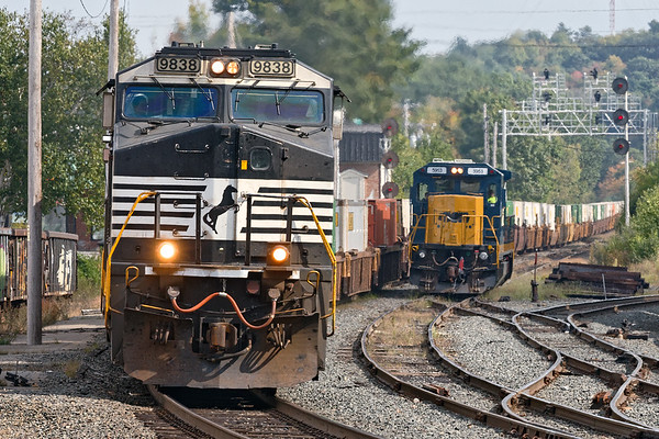 With three units pulling a long string of containers, train 23K rolls through the Gardner MA yard.<br /> 9/26/2017 - 598C3918dK