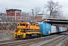NECR (B&P) 3000 shoves a long string of loads into the CSX yard in Palmer MA. 1/4/2017 - 598C9571dK