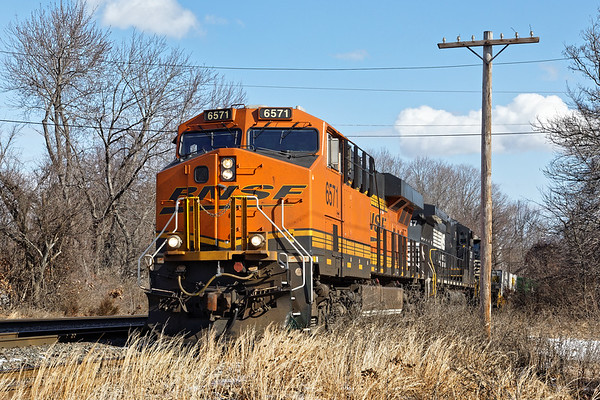 In bright sun, train 23K eases out the west wye and onto the main in Ayer MA. 1/29/2017 - 6V4A0146dK