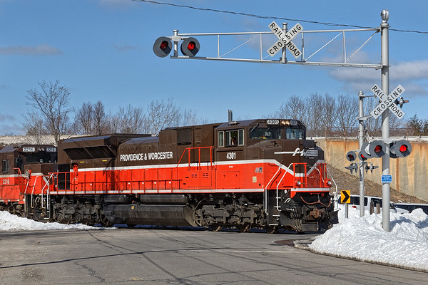 Red, White & Blue<br /> Sharp looking SD70 #4301 was on the point of train GRWO returning to Worcester.<br /> 3/19/2017 - 598C0895dK