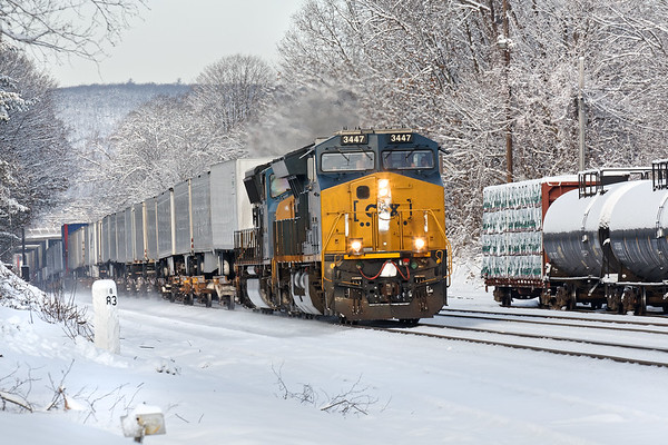 Running through our first snow at MP83 in Palmer MA, CSX train Q012 is eastbound for Worcester with a line of UPS trailers filled with Christmas presents!<br /> 12/10/2017 - 598C4843dK