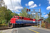 With NECR 3040 leading NECR 3039 and CSOR 3398, train 608 heads south at the Hospital Crossing in Palmer MA.<br /> 10/3/2017 - 598C3971d2K