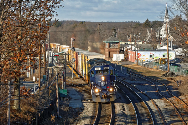 PAS train EDPO rolls past AY tower in the center of Ayer MA. 1/13/2017 - 598C0173dK