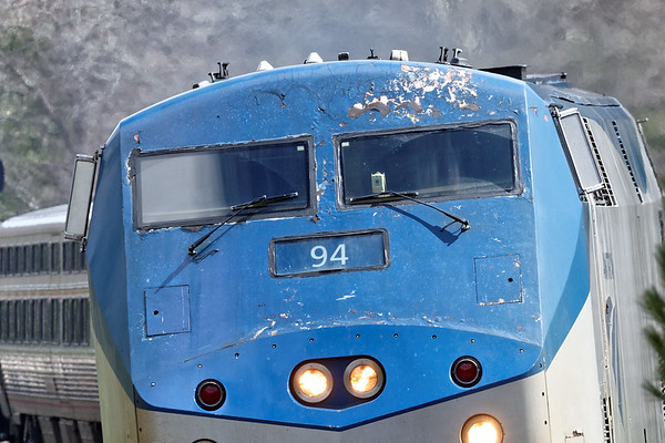Amtrak 94, the lead unit on today's 449 looks like it's been rode hard and put away wet...4/8/2017 - 598C1083dK