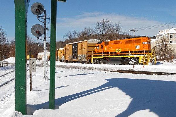 NECR 3809 switches the yard in Palmer, MA. 2/14/2017 - 598C0447d2K