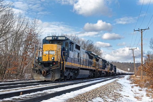 MEC 7545, one of the new/old CSX units just bought by PAS is on the point as the slurry train (BFPO?) holds track two just west of the Fitchburg MA yard. 1/29/2017 - 6V4A0098dK