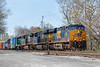 CSX train SEPO emerges from the Hill Yard in Ayer MA with an interesting 4th unit. 4/30/2017 - 598C1650dK