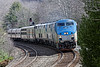 With 4 units pulling, an extra long Amtrak 449, The Lake Shore Limited, hits the S-curves at MP60 in Spencer, MA.<br /> I guess that's one way to eliminate breakdown delays...<br /> 4/8/2017 - 598C1078dK