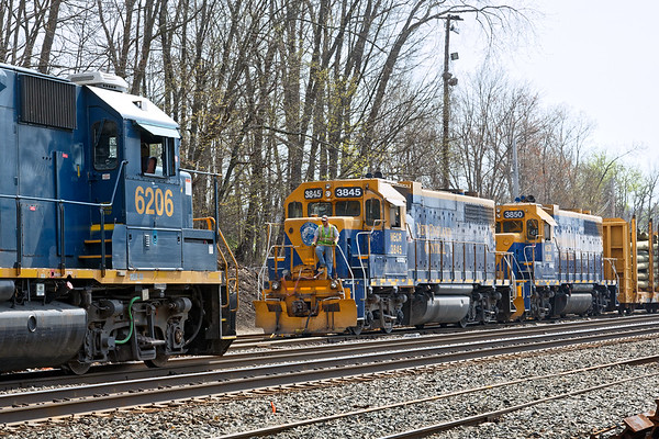 NECR switches the CSX yard in Palmer as B740 waits to make it's pickup further down in the yard.<br /> 5/3/2018