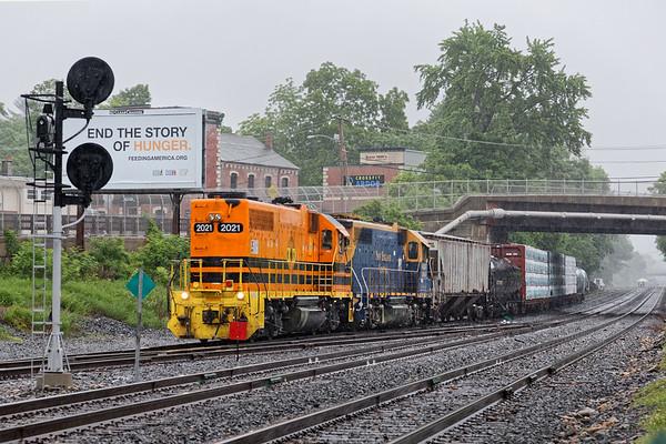 A few hours in the rain in Palmer MA...<br /> NECR train 603 on the yard lead into the CSX yard.<br /> 6/4/2018